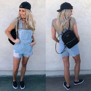 Honey Punch Denim Distressed Overalls